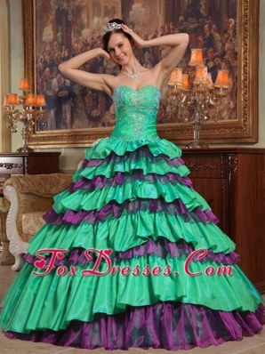 2013 Quinceanera Dress Green Ball Gown One Shoulder Beading