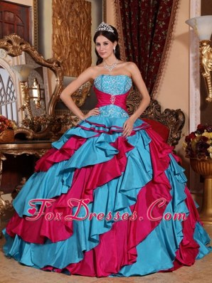 2013 Blue and Red Quinceanera Dress Strapless Embroidery
