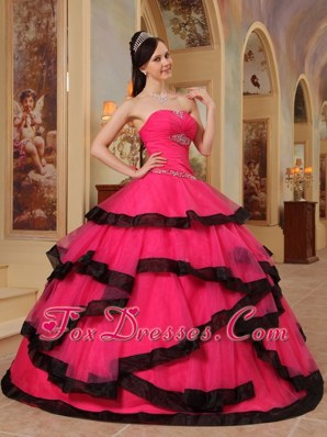 Red Ball Gown Strapless Quinceanera Dress 2013 Appliques