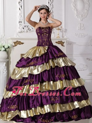 Purple and Gold 2013 Strapless Embroidery Quinceanera Dress