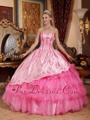 Pink Quinceanera Dress Sweetheart Floor-length Embroidery