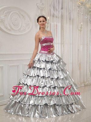 2013 Princess Ruffle Quinceanera Dress Strapless Beading