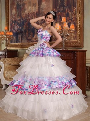 Straps Print Ruffle Flower Quinceanera Dress in 2013