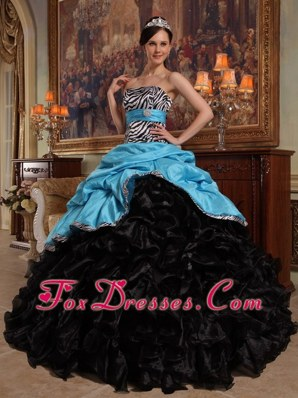 Aqua Blue and Black Ball Gown Zebra Pick-ups Quinceanera Dress