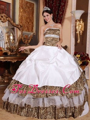 Quinceanera Dress White Ball Gown Strapless Leopard Beading
