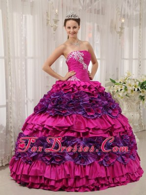 2013 Fuchsia Ball Gown Strapless Quinceanera Dress