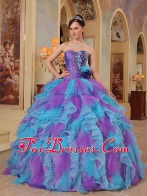 Purple And Aqua Blue Sweetheart Ruffle Quinceanera Dress