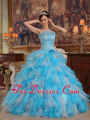 Aqua Blue Ruffle Round Neck Quinceanera Dress