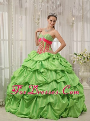 Spring Green And Hot Pink Ball Gown Quinceanera Dress