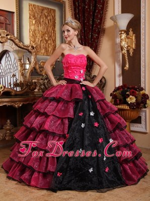 Multi Color Sweetheart Quinceanera Dress With Flowers