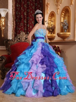 Multi Color Organza Ruffle Quinceanera For Sweet 16
