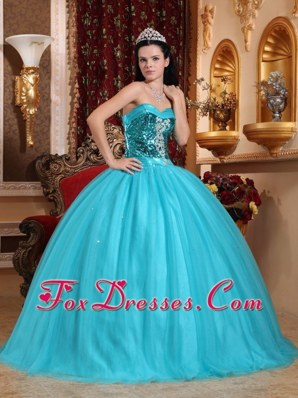 Tulle Blue Sweetheart Floor Length Quinceanera Dress