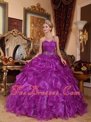 Purple Sweetheart Organza Quinceanera Dress With One Spaghetti Strap