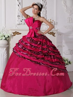 Fuchsia Zebra Gorgeous Quinceanera Dress With Big Bow In Front