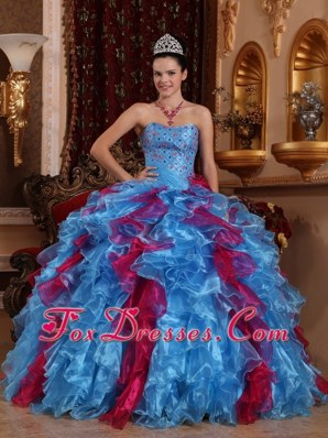 Exclusive Strapless Blue And Burgundy Organza Quinceanera Dress