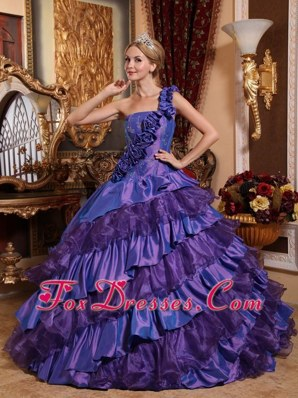 Dark Purple One Shoulder Taffeta Shimmering Quinceanera Dress