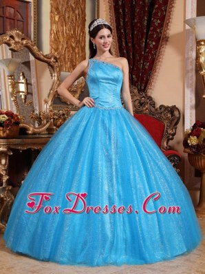 One Shoulder Blue Tulle Shimmering Quinceanera Dress