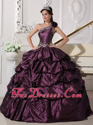 Discount Dark Purple Shimmering One Shoulder Beading Quinceanera
