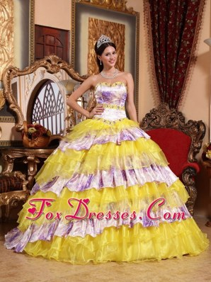 2013 Printed Yellow Organza And Yellow Strapless Quinceanera