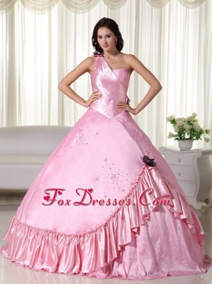 Shimmering Light Pink One Shoulder Quinceanera With Ruched Trim