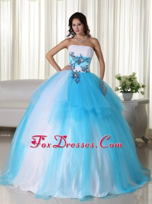 White And Blue Tulle Quinceanera Decorated With Applique