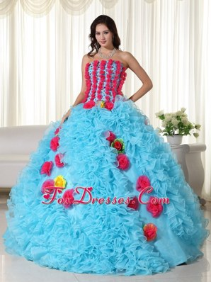 Red And Aqua Ball Gown Quinceanera With Beautiful Flowers