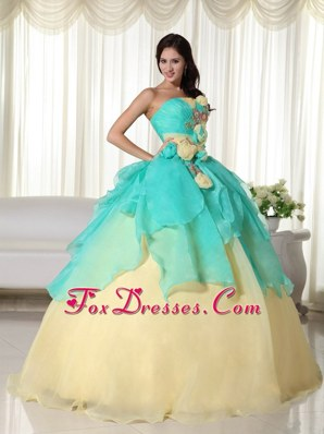 Blue And Yellow Organza Unique Quinceanera For 16 Birthday