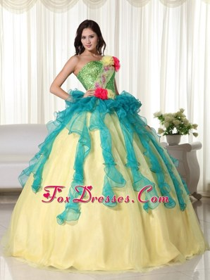Multi Color Strapless Quinceanera With Red Flowers