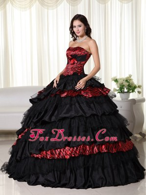 Wine Red And Black Zebra Organza Strapless Quinceanera On Sale
