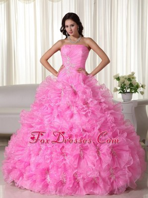 Pink Organza Beading Strapless Quinceanera With Exquisite Ruffles