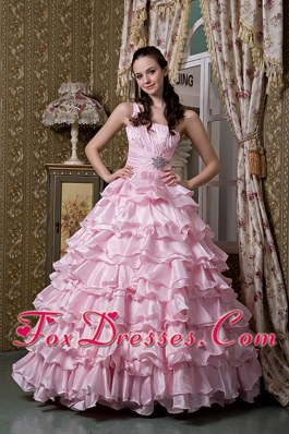 Baby Pink Quinceanea Dress 2013 One Shoulder Ruffled