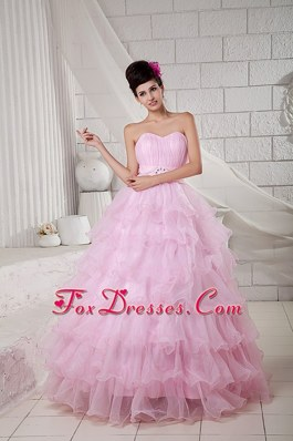 Organza Sweetheart Ruffles Quinceanera Gown Baby Pink