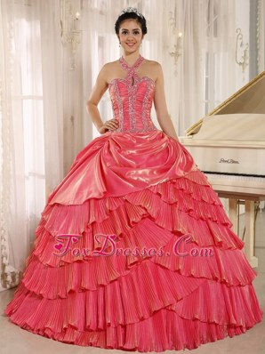 Beaded 2013 Halter Watermelon Quinceanera Dress