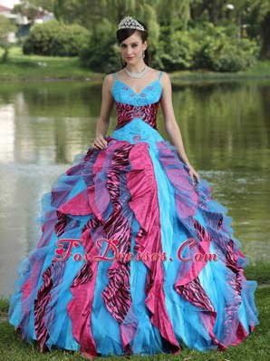 Spaghetti Straps Multi-colored Ruffled Quinceanera Gown