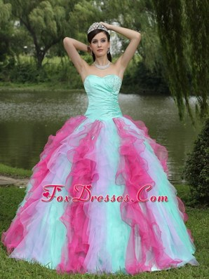 Sweetheart Quinceanera Dress with Ruffles Beaded 2013