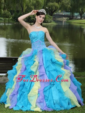 Ruffles Layered Colorful Sweet 15 Dress with Appliques