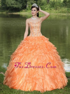 Sweetheart Beaded Orange Quinceanera Dress with Ruffles