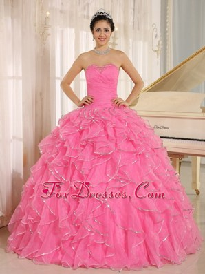 Beadings Quinceanera Dress with Ruffles Rose Pink