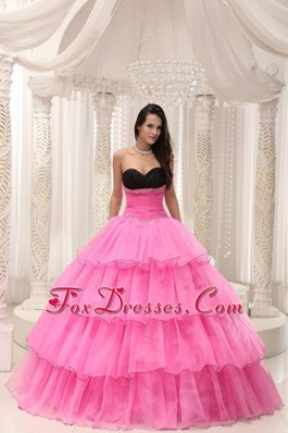 Black and Rose Pink Quinceanera Gown with Beads Layers