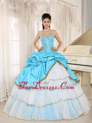 Ruffled Layers Two-toned Beadwork Quinceanera Dress