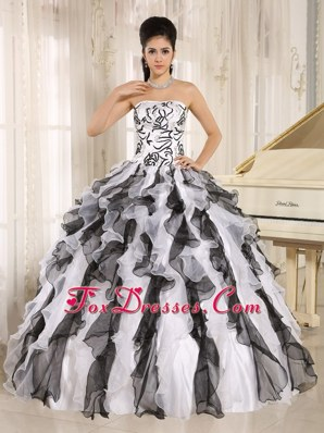 2013 Multi-color Ruffles Quinceanera Gowns Embroidery