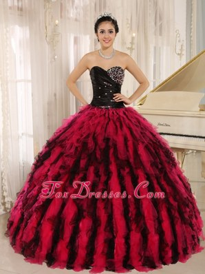 Beads Ruffled Sweetheart Hot Pink Quinceanera Dress