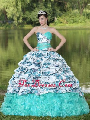 Colorful Printing Quinceanera Dress with Pick-ups Brush