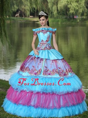 Off The Shoulder Appliques Quinceanera Dress Layered