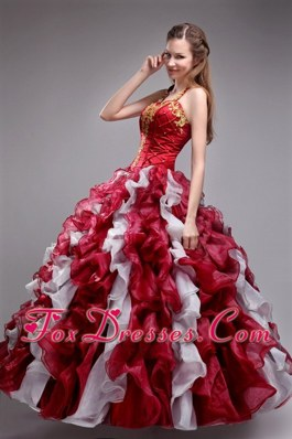 Wine Red Halter Applqiues Ruffled Quinceanera Dress