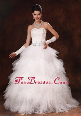 White Feather Beaded Tulle Sweetheart Wedding Dress