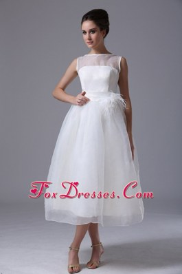 Cheap Simple Tea-length Short Wedding Dress