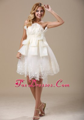 Strapless White Bow 2013 Short Wedding Gown