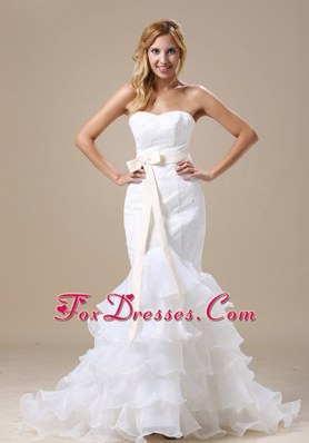 2013 Mermaid Wedding Dress Sash Ruffles Layered Organza
