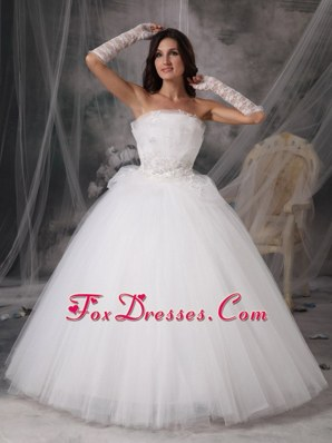 A-Line Princess Wedding Dress Strapless Tulle Appliques